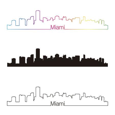 Miami skyline linear style with rainbow in editable vector file Vector