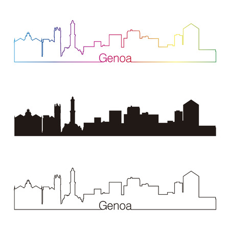 Genoa skyline linear style with rainbow in editable vector file Illustration