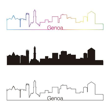 genoa: Genoa skyline linear style with rainbow in editable vector file Illustration