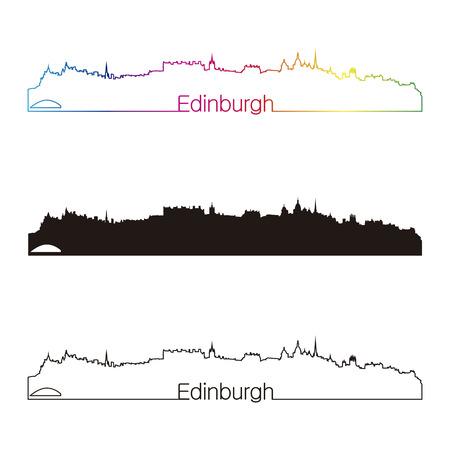 Edimburgo skyline estilo linear con el arco iris en el archivo vectorial editable