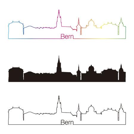 Bern skyline linear style with rainbow in editable vector file Vector
