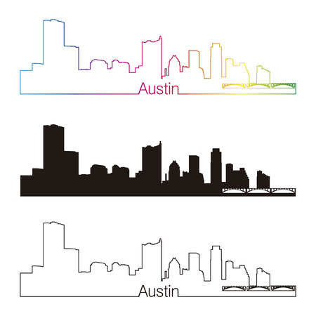 Austin skyline linear style with rainbow in editable vector file Vector