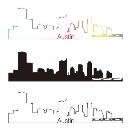 austin: Austin skyline linear style with rainbow in editable vector file