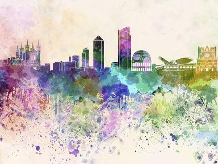 Lyon skyline in watercolor background