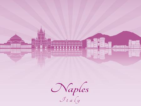 naples: Naples skyline in purple radiant orchid in editable vector file Illustration