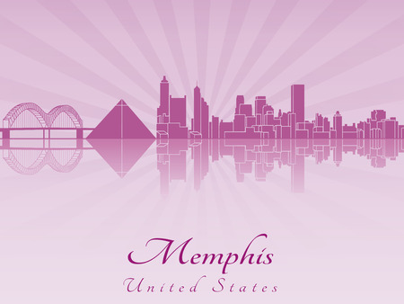 Memphis skyline in purple radiant orchid in editable vector file Vector