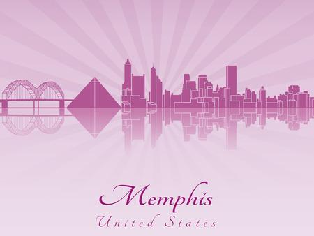 memphis: Memphis skyline in purple radiant orchid in editable vector file