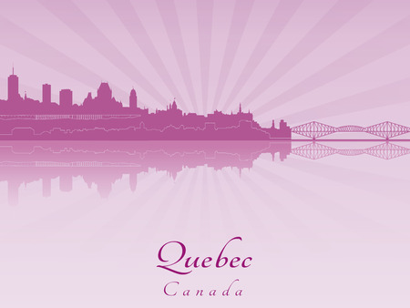 quebec city: Quebec skyline in purple radiant orchid in editable vector file Illustration