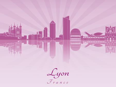 Horizonte de Lyon en orquídea púrpura radiante en el archivo vectorial editable