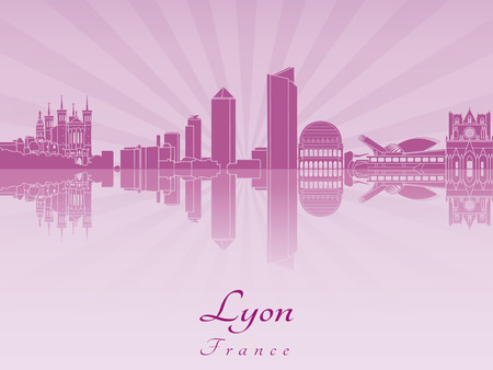 Lyon skyline in purple radiant orchid in editable vector file Illustration