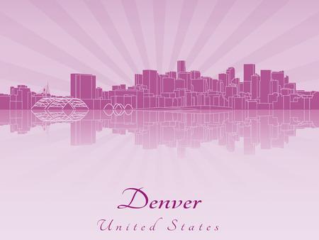 Denver skyline in purple radiant orchid in editable vector file