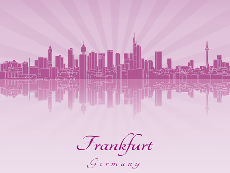 Frankfurt skyline in purple radiant orchid in editable vector file