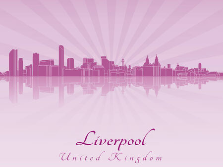 Liverpool skyline in purple radiant orchid in editable vector file Vector