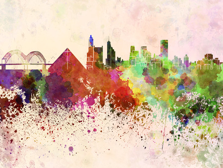 memphis: Memphis skyline in watercolor background
