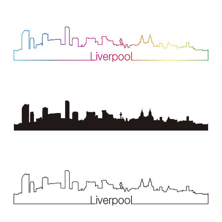 Liverpool skyline linear style with rainbow in editable vector file Vector