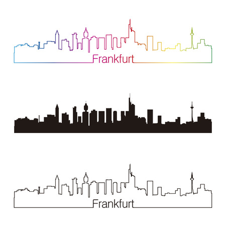 Frankfurt skyline linear style with rainbow in editable vector file