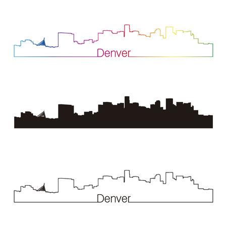 Денвер: Денвер горизонта линейном стиле с радугой в редактируемом файле вектор