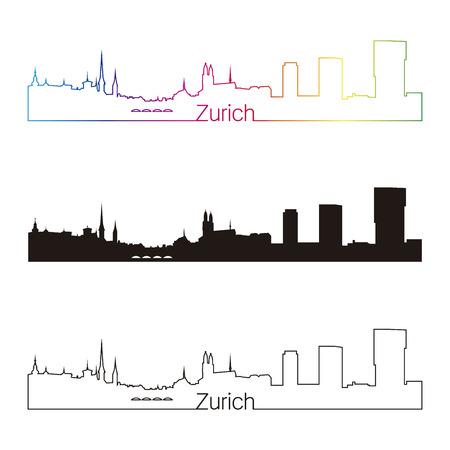 編集可能なベクトル ファイルで虹とチューリッヒ スカイライン直線的なスタイル