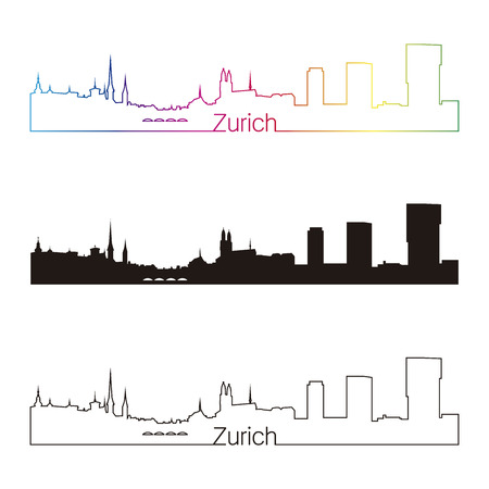 Zurich skyline linear style with rainbow in editable vector file