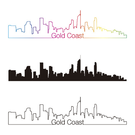 Gold Coast skyline linear style with rainbow in editable vector file