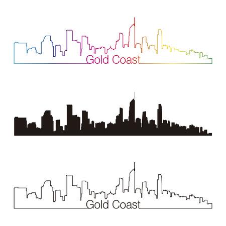 Gold Coast skyline linear style with rainbow in editable vector file