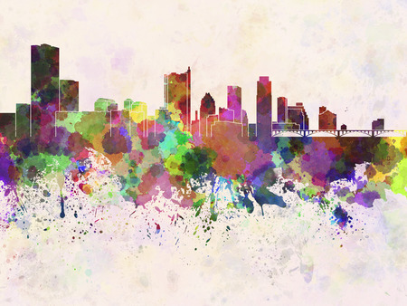 Austin skyline in watercolor background photo
