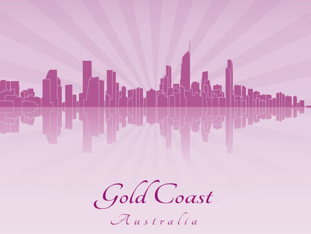 gold coast: Gold Coast skyline in purple radiant orchid in editable vector file
