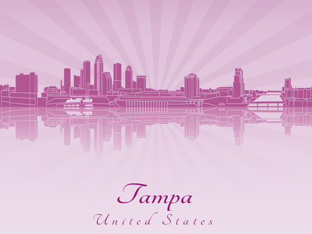 florida: Tampa skyline in purple radiant orchid in editable vector file