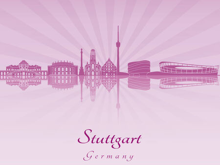 stuttgart: Stuttgart skyline in purple radiant orchid in editable vector file