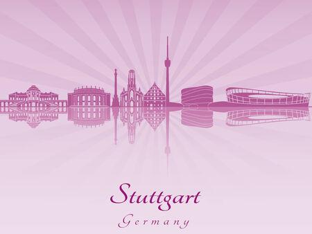 stuttgart: Stuttgart skyline in purple radiant orchid in editable vector file