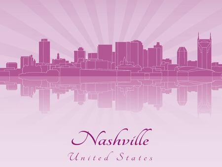 nashville: Nashville skyline in purple radiant orchid in editable vector file Illustration