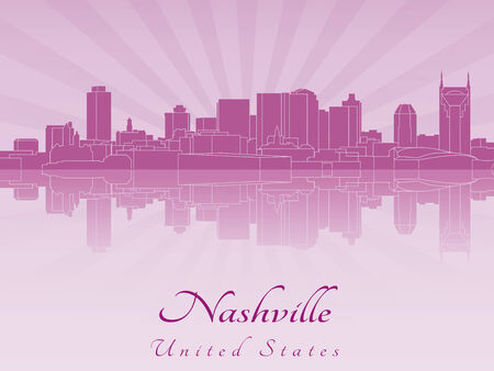 nashville: Nashville skyline in viola orchidea radiante in file vettoriali modificabili