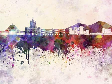 naples: Naples skyline in watercolor background