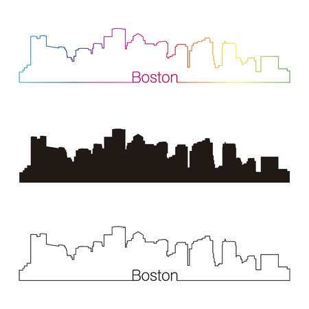 boston skyline: Boston skyline linear style with rainbow in editable vector file Illustration