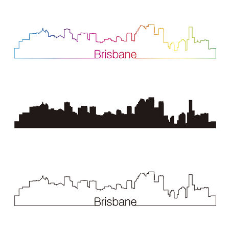 brisbane: Brisbane skyline linear style with rainbow in editable vector file Illustration