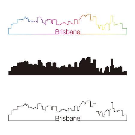 Brisbane skyline linear style with rainbow in editable vector file Illustration