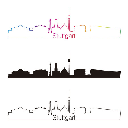 stuttgart: Stuttgart skyline linear style with rainbow in editable vector file
