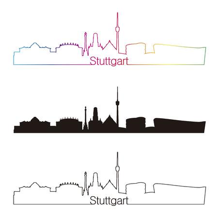 stuttgart: Stuttgart skyline linear style with rainbow in editable vector file