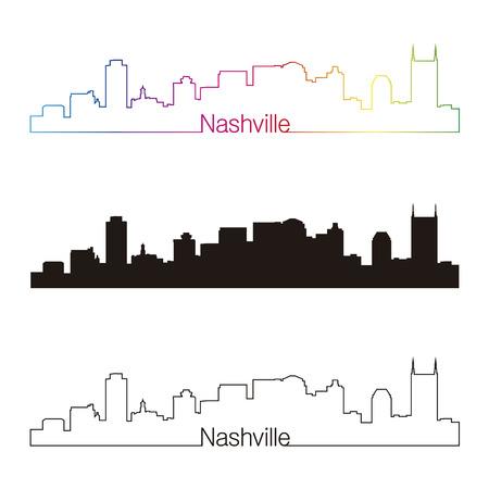 Nashville skyline linear style with rainbow in editable vector file Vector