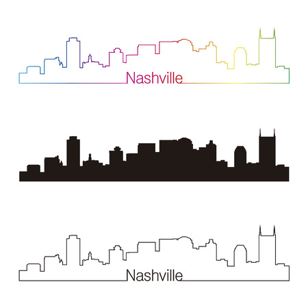 nashville: Nashville skyline linear style with rainbow in editable vector file