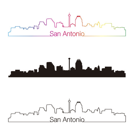 San Antonio skyline linear style with rainbow in editable vector file