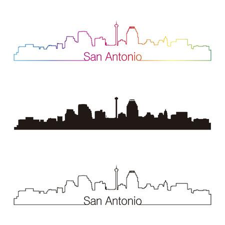 antonio: San Antonio skyline linear style with rainbow in editable vector file
