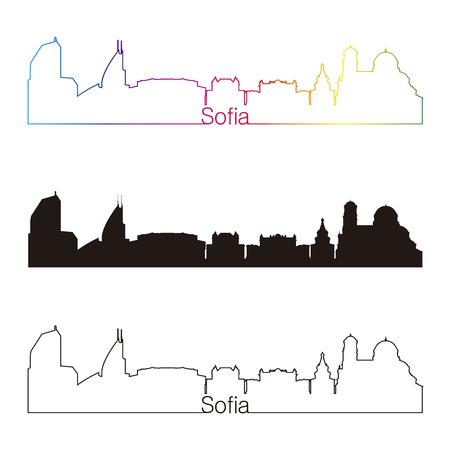 Sofia skyline linear style with rainbow in editable vector file