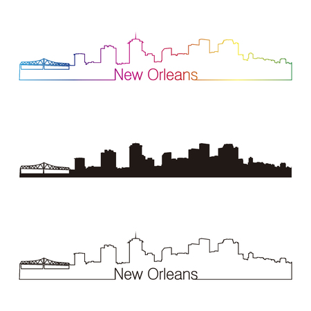new orleans: New Orleans skyline linear style with rainbow in editable vector file