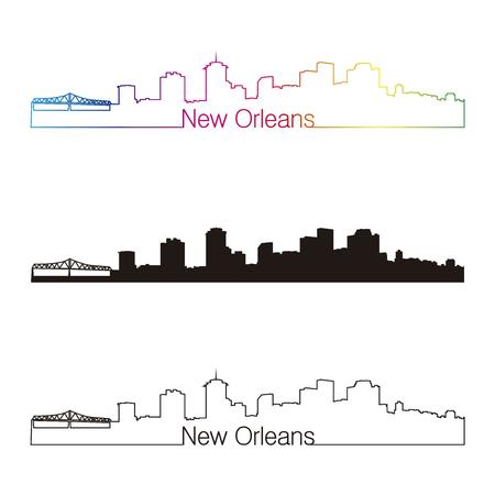 New Orleans skyline linear style with rainbow in editable vector file Vector