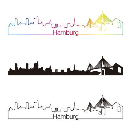 regenbogen: Hamburg skyline lineaire stijl met een regenboog in bewerkbare vector-bestand
