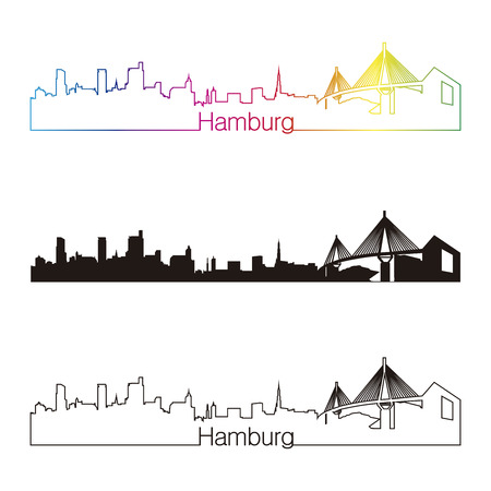 Hamburg skyline linear style with rainbow in editable vector file