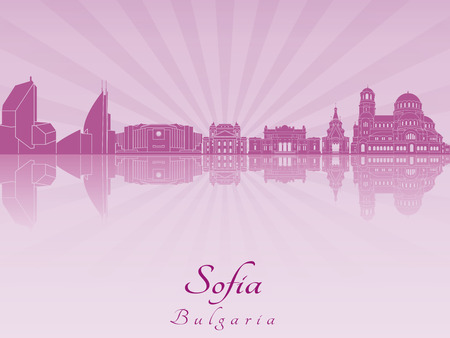 sofia: Sofia skyline in purple radiant orchid in editable vector file