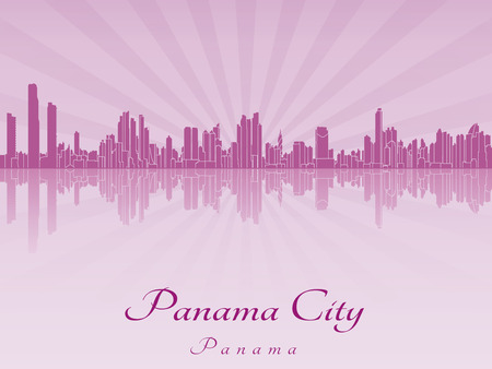 panama: Panama City skyline in purple radiant orchid in editable vector file