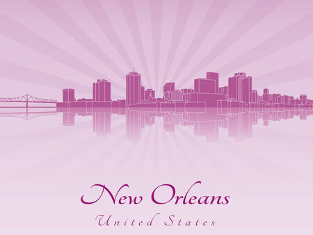New Orleans skyline in purple radiant orchid in editable vector file Illustration